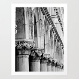 Doges Palace pillars and arches, Venice Art Print