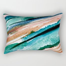 Here's to the Dreamers [2]: a minimal, watercolor abstract piece in pinks, green, blue, and white Rectangular Pillow