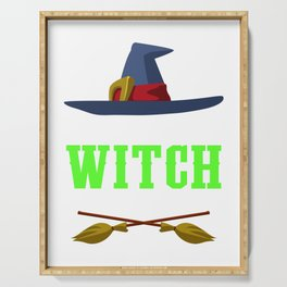 Resting Witch Face Broomstick Hat Spooky Halloween Serving Tray