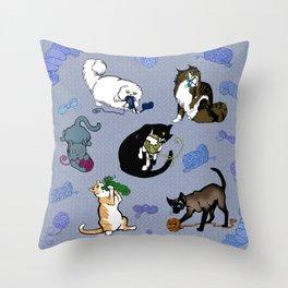 Cats&Yarn Throw Pillow