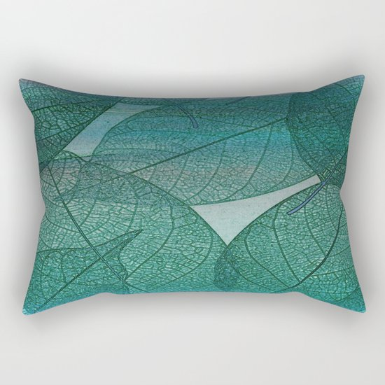 Painterly Green And Blue Leaf Abstract Rectangular Pillow