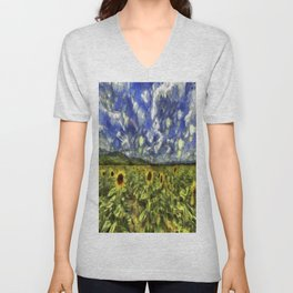Summer Sunflowers Van Gogh Unisex V-Neck