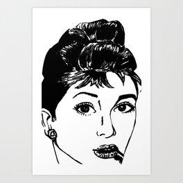 Audrey Hepburn in Marker Art Print
