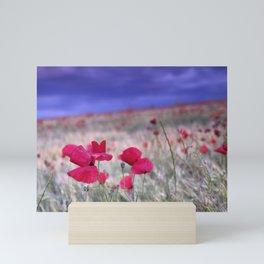 Spring poppies. Purple sunset. Sierra Arana Mini Art Print