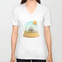 globe V-neck T-shirts featuring Sand Globe by Moremo