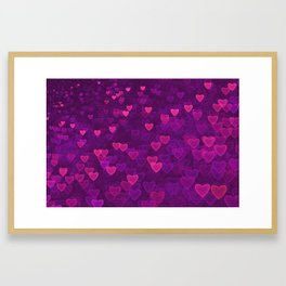 Abstract Pink Ultra Violet Love Heart Pattern | St Valentines day Framed Art Print