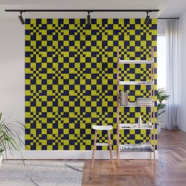 Yellow navy blue cracked floor tail Wall Mural