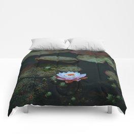 Dark Sensual Lily Pad Pond White Lotus Flower Comforters