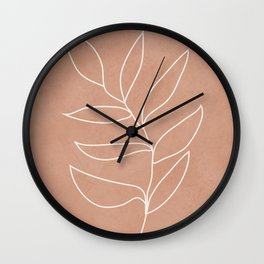 Engraved Leaf Line Wall Clock