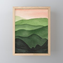 Watercolor layers of mountains Framed Mini Art Print