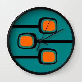 Mid Century Modern Branches - Orange on Teal Wall Clock