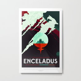 Enceladus - NASA Space Travel Poster (Alternative) Metal Print