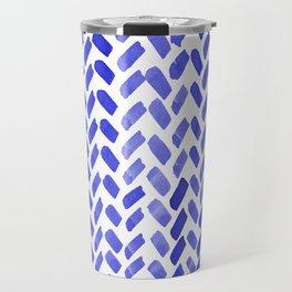 Cute watercolor knitting pattern - blue Travel Mug