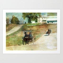 Three Amish Buggies Art Print