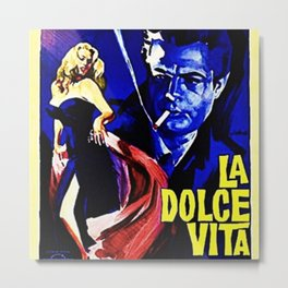 Vintage 1960 Fellini Lithograph Movie Poster Wall Art Metal Print