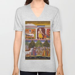 Scenes from the Childhood Krishna, from a Sur Sagar Manuscript Unisex V-Neck