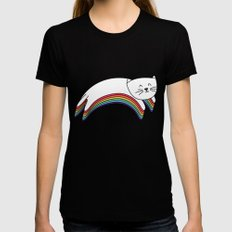 Rainbow Kitty Womens Fitted Tee SMALL Black