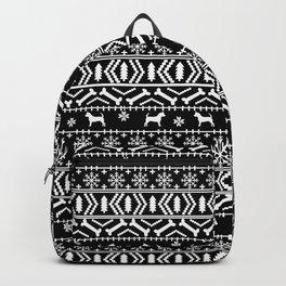 Chihuahua fair isle christmas sweater black and white minimal chihuahuas dog breed Backpack