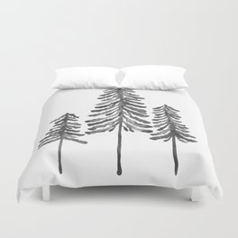 Pine Trees – Black Ink Duvet Cover