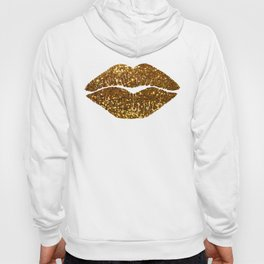 Gold Sparkle Kissing Lips Hoody