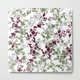 Leaves and Branches in Sage Green and Wine Red Metal Print