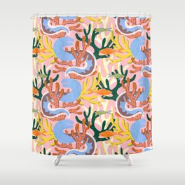 Eels in Coral Shower Curtain