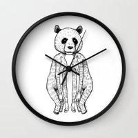 pandas Wall Clocks featuring Pandas by Benson Koo