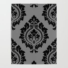Decorative Damask Pattern Black on Gray Poster