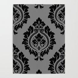 Decorative Damask Pattern Black on Gray Poster