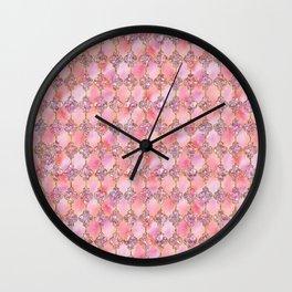 Luxury Gold and Pink Glitter effect oriental pattern Wall Clock