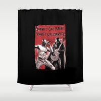 bane Shower Curtains featuring Party on, Bane by The Cracked Dispensary