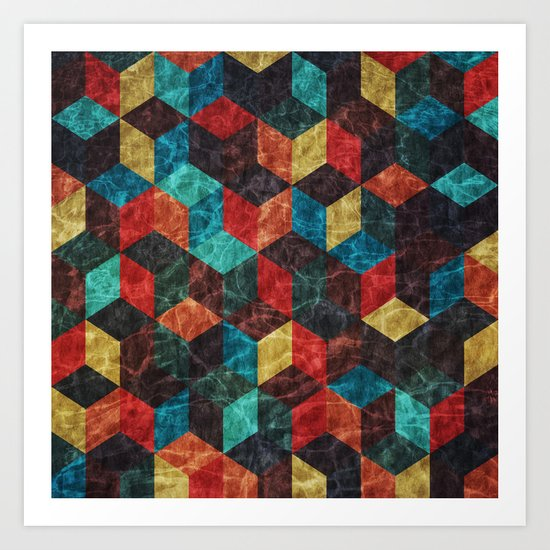 Colorful Isometric Cubes Art Print