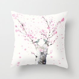 Cherry Blossoms And Birds Throw Pillow