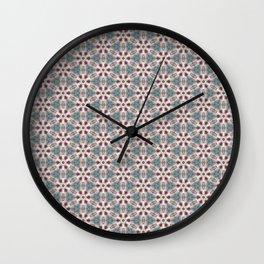 Teal & Red Geometric - Nautical Ship Wheel Wall Clock