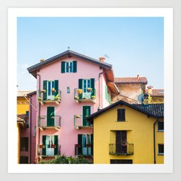 Pink and Yellow Houses, Bellagio Art Print