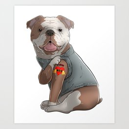 English Bulldog I Love Mom Tattoo Mother's Day Funny Dog Lover Art Print