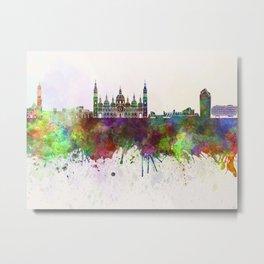 Zaragoza skyline in watercolor background Metal Print