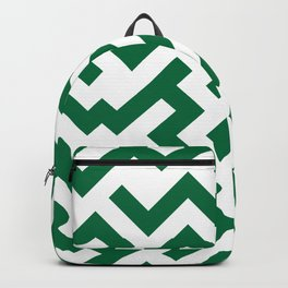 White and Cadmium Green Diagonal Labyrinth Backpack