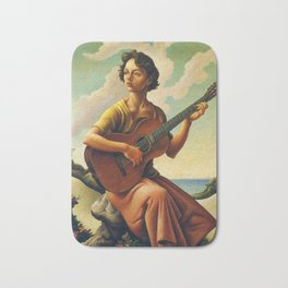 Classical Masterpiece 'Jesse with Guitar' by Thomas Hart Benton Bath Mat