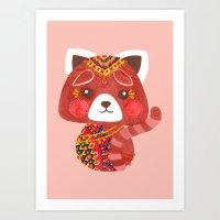 Jessica The Cute Red Panda Art Print
