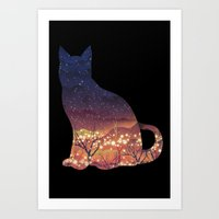 space cat Art Prints featuring Space Cat by dan elijah g. fajardo