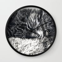 charlie Wall Clocks featuring Charlie by Lucy Schmidt Art