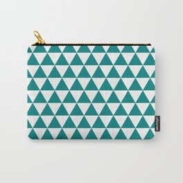 Triangles (Teal/White) Carry-All Pouch