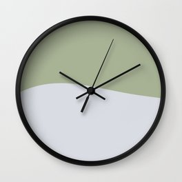 Zen Hill - Minimalist Color Block in Sage Green and Silver Gray Wall Clock