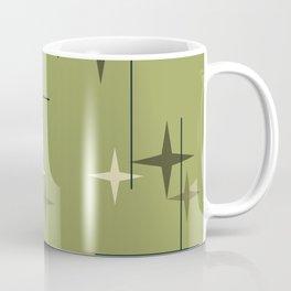Mid Century Modern Stars Olive Green Coffee Mug