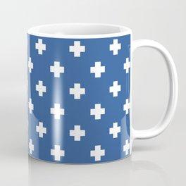 White Swiss Cross Pattern on Blue background Coffee Mug