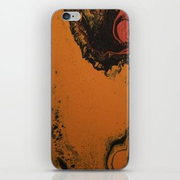 Fluid Art Acrylic Painting, Pour 5, Black, Red, Orange, & Yellow Blended Color iPhone Skin