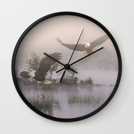 Eagles at Dawn Wall Clock