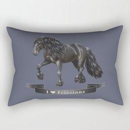 I Love Friesian Horses Rectangular Pillow