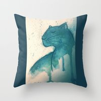 panther Throw Pillows featuring Panther by elisacalderoni92